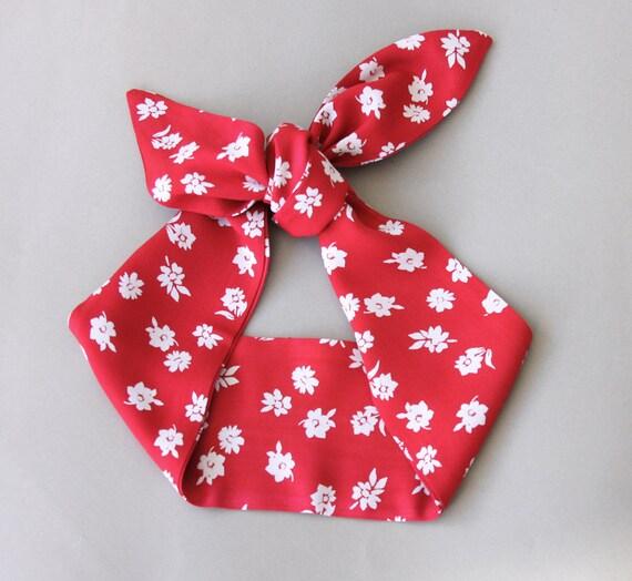 Red Headband floral headband pin up headband adult headband women 50s style rockabilly headband dolly bow head wrap bandana scarf CHERRY