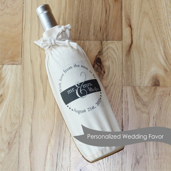 Personalized Wedding Gift Bags Cheap : Wedding THANK YOU Wine Favor Bag - Personalized Favor Bags - Wedding ...