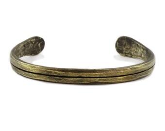 Mens Bracelet Personalized Antique Brass Line Cuff