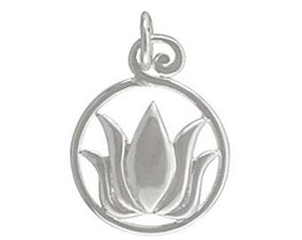 Silver Lotus Pendant, Lotus Pendant, Lotus Charm, Lotus Flower Pendant, Lotus Flower Charm, Lotus, Lotus Flower, Lotus charms, Silver Lotus