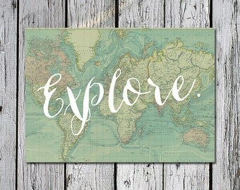 Explore. 5x7 Printable artwork with vintage map in blue - digital download for travel home decor, children's boy's girl's or teen's room
