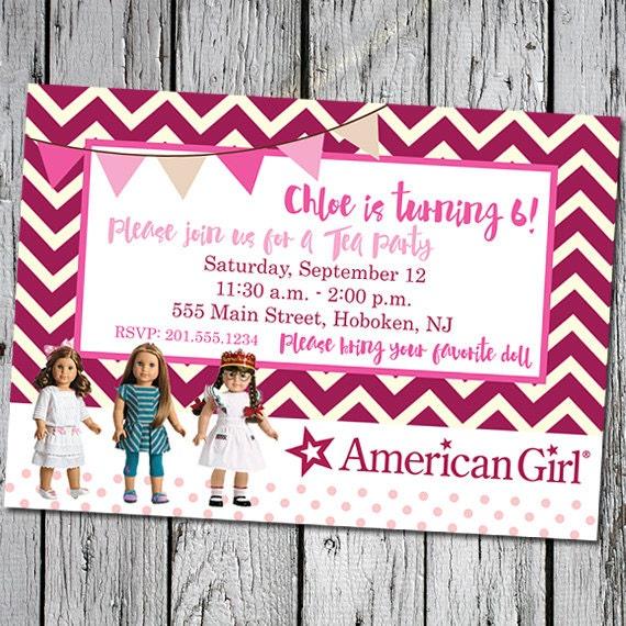 Childrens Girls Birthday Party Invitation digital – American Girl Birthday Invitations