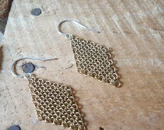 Brass Chainmail Earrings