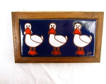 Vintage Wall Hanging Vintage Tile Framed Tile Duck Tile Kids Room Decor Bathroom Decor Trivet Ducks
