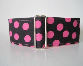 Polka Dot Martingale Collar, 1.5 Inch Martingale Collar, Hot Pink Martingale Collar, Polka Dot Dog Collar, Pink Dog Collar, Wide Dog Collar