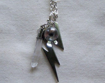 Silver Lightning Bolt Crystal Ball Wand Pendant Necklace