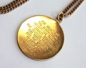 1960s Serenity Prayer Necklace // Brass //  60s 50s Vintage Jewellry // Handmade // 18 inches