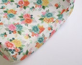 Girls Crib Bedding - Pink Yellow Turquoise Baby Bedding Changing Pad Cover or Fitted Crib Sheets / Floral Nursery Bedding / Mini Crib Sheets