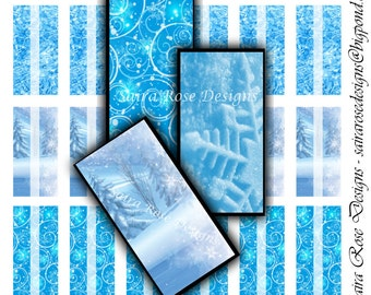Digital Download Collage Sheet - 1x2 inch Rectangles - Ice Themed Printable Images