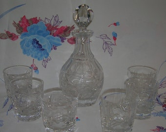 Vintage Gorham Crystal Decanter and 6 Matching Old Fashioned Rock Glasses