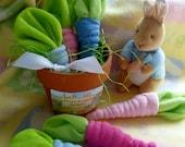 Washcloth Carrot..Pink Carrots or Blue Carrots..Baby Washcloths..DIY Diaper Cake..Peter Rabbit Baby Shower..Washcloth Vegetable..Garden :)