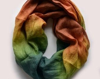 Dip-Dye Green Linen Scarf - Oversized Linen Scarf - Fashion Scarf  - Infinity Scarf - Green Brown Scarf - Fall Scarf