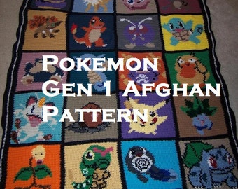 Pokemon themed Afghan pattern