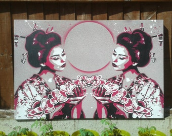 Geisha with lilies,painting,canvas,stencil art,spray paint art,asian,oriental,marble,flowers,beauty,black,pink,street art,symmetry,Japanese
