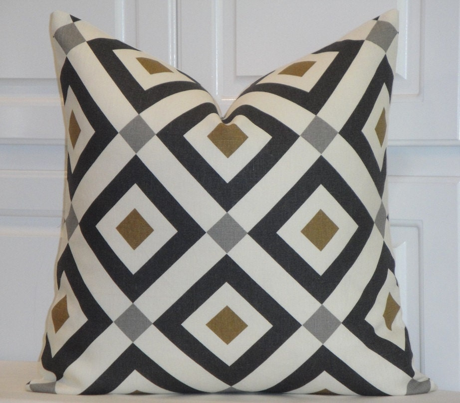 KRAVET Gold Charcoal Grey Decorative Pillow Cover