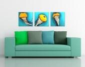 3 JELLYFISH, Set of 3 12x12 Acryic Paintings for Home, Office Decor, Beach house decor