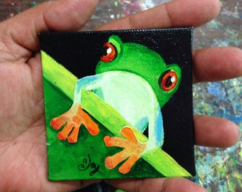 Mini Tree Frog Magnet - Original Mini Acrylic Canvas - Hand Painted - 3x3 inch canvas magnet
