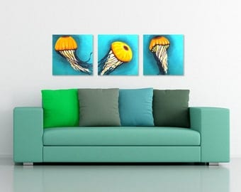 3 JELLYFISH, Set of 3 12x12 Acryic Paintings for Home, Office Decor, Beach house decor
