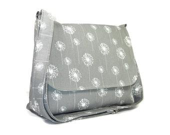 Gray Dandelion Messenger Purse for Women, Fabric Pocketbook, Cotton Crossbody Bag, Gray Cross Body Purse, Dandelion Handbag