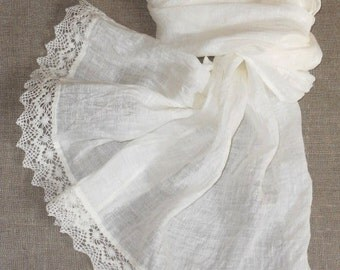 Bridal shawl linen scarf with lace in shabby chic style white washed semi sheer gauzy lightweight summer wedding wrap