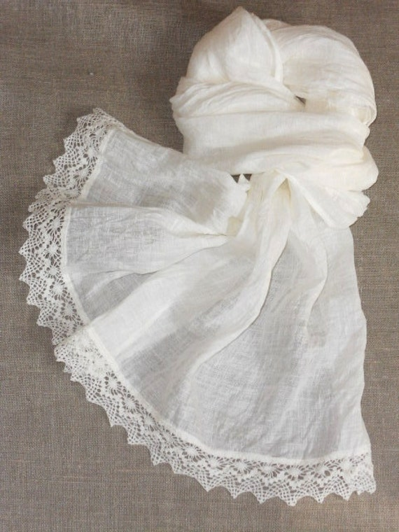 Bridal shawl linen scarf with lace shabby chic style white washed semi sheer gauzy lightweight wrap