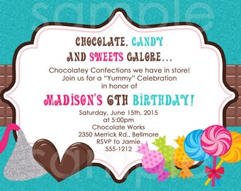 Chocolate Candy Invitations, Sweet Treats Candy Shop Children's Party