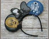 R2D2 & C3PO Robot Mouse Ears Headband - CUSTOM - Twincess Bowtique