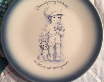 Vintage Decorative Dinner Plate Boy and Puppy #3095