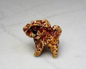 Poodle Puppy - Miniature Terrarium Figurine - Brown Poodle - Poodle Figurine - Dog Figurine - Dog Terrarium Mini - Little Dog Miniature