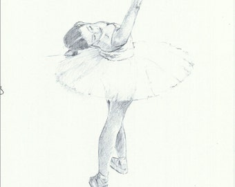 Original ballerina drawing in pencil,Australian artist,Figure in motion,Dance,Ballet,Figurative art