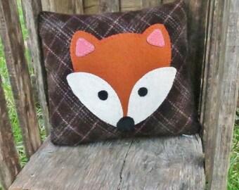 Felix the Fox - Primitive Fox Pillow - Wool Fox Pillow