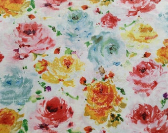 "Floral Fabric Fat Quarter, ""Rose Sorbet"", 100% cotton fabric, Large Multicolor Flowers, White Background, Home Decor, Sewing Quilting Fabric"