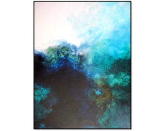 Beautiful Huge 36x48 Coral Reef Painting. Ocean Art. Underwater Art. Sea Life Painting. Large Blue Abstract Art Acrylic Painting. Original.