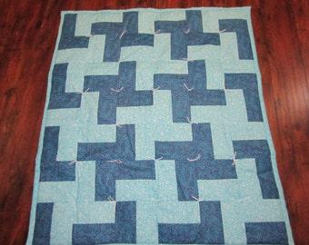 """Blue Baby Boy Quilt- 34x39"""""""