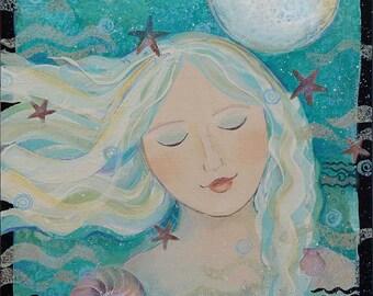 OCEAN DREAMS,Painting on Canvas, Original art , ocean theme, 12 x 12 inches,home decor