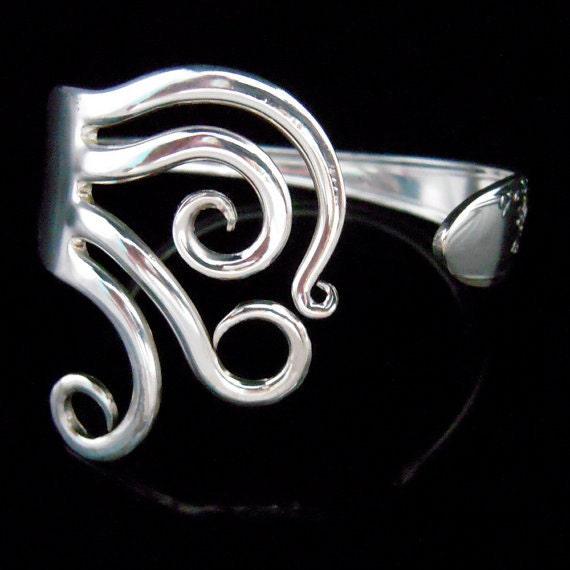 Antique Silverware Jewelry Silver Fork Bracelet in Original Curly Design Number Five