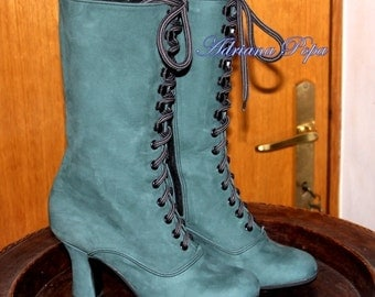 Sale Last pair SALE zipped Green leather Victorian Boots Dark Green Ankle Boots Customized size shoes Edwardian shoes