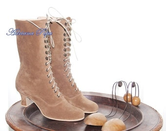 SALE Light Brown Victorian Boots Lace up in Suede Light Brown Chocolate leather Ankle boots High Heels ORDER your customized size