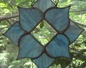 Blue Blush Prism Lotus Flower Mandala Stained Glass Suncatcher Ornament