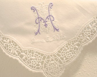 Wedding Handkerchief: Cream Color German Plauen Lace Handkerchief Style No. 40934 with Classic Zundt 1-Initial Monogram