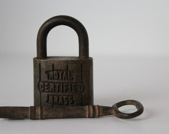 Antique Metal Lock, Solid Brass, Royal Certified Brass, Skeleton Key, Collectible Pad Lock, Heavy Rusty Lock and Key