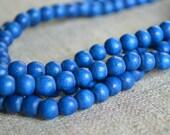 133pcs Dark Blue Wood Natural Beads 6mm Round Macrame Bead