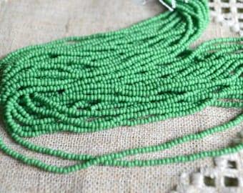 11/0 Hank Seed Opaque Green Bead Preciosa Czech Glass Seed Beads