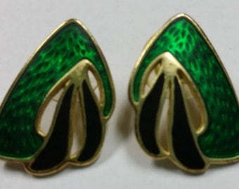 Vintage Green Black and Gold Tone Post Pierced Earrings Circa 1980's - 1990's