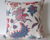Maldives Lapis jacobean floral blue red decorative pillow cover