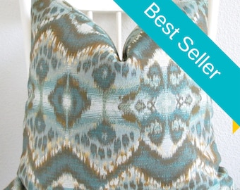 Rhythm Waves Pool glam ikat teal copper decorative pillow cover