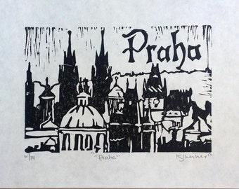Praha Linocut Original Print