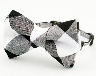 """1"""" Black Gingham Bow Tie Cat Collar"""
