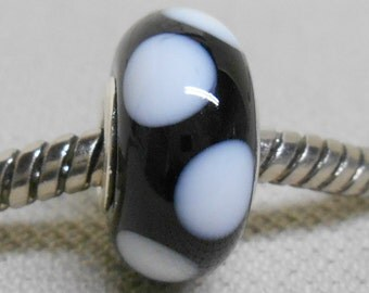 Handmade Lampwork Bead European Charm Bead Black with White Dots Silver Cored
