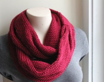 Knit infinity scarf, cowl, red